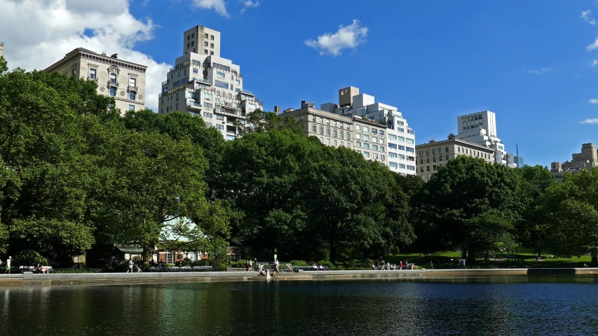 Reflections on the water in the Central Park, New York City Royalty-Free Stock Footage #1054457771