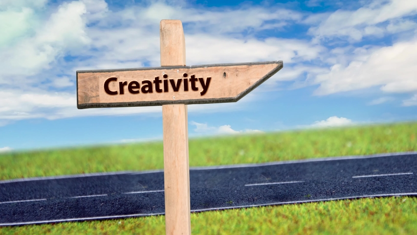 Street Sign the Way to Creativity  | Shutterstock HD Video #1054471901