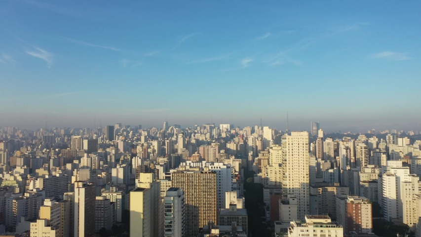Aerial Landscape of City Life Scene. Cityscape View. Landmark of City, Heart of São Paulo. Aerial View of São Paulo, Brazil like New York. Beauty Skyscrapers. Business city. Sunny Skyline Day in City