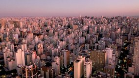 Aerial Landscape of City Life Scene. Great Cityscape View. Sao Paulo, Brazil. Downtown Scene. Sunset Sky. Beauty Skyscrapers. Skyline City Aerial view of Sao Paulo, Brazil CIty Landscape. Capital City