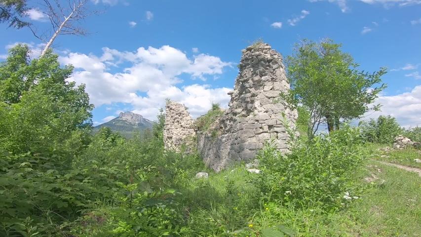 Ruin of castle Pflindsberg in Austria | Shutterstock HD Video #1054474175
