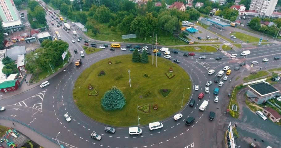 Car ring.Ukrainian city of Lviv. Galician crossroads. Aerial photography | Shutterstock HD Video #1054474874