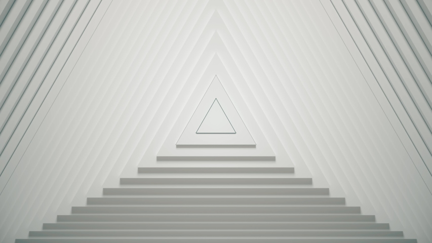 Abstract triangles pattern with offset effect. Animation of white blank triangles. Abstract background for business presentation. Seamless loop 4k 3D render Royalty-Free Stock Footage #1054475531