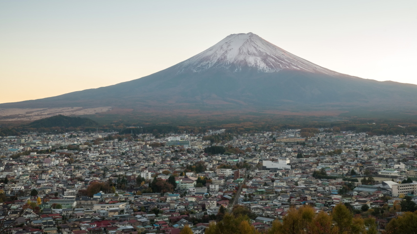 Time lapse video of Mt. Fuji Fujiyoshida view from behind Chureito Pagoda  in Japan around Lake Kawaguchiko.  | Shutterstock HD Video #1054476236