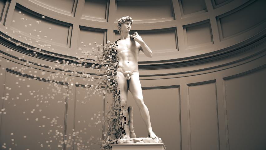 Digital Disintegration Of Sculpture David. 4K. 3840x2160. 3D Animation.