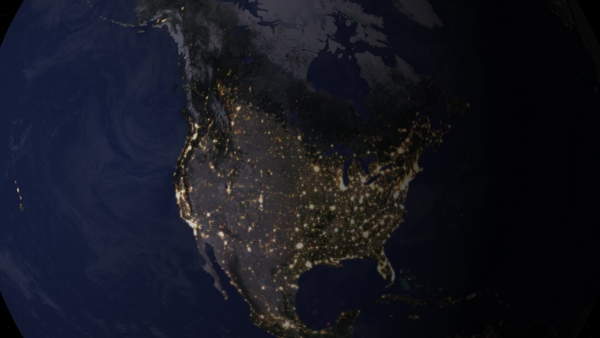 Zoom to United States of America. The Night View of City Lights. World Zoom Into USA - Planet Earth. Political Borders of American Countries: United States of America and Canada, | Shutterstock HD Video #1054479974