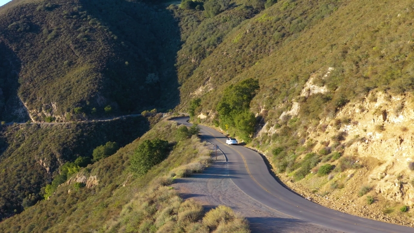 Aerial view of car driving on beautiful countryside road at Mount Diablo in Bay Area, California | Shutterstock HD Video #1054483904