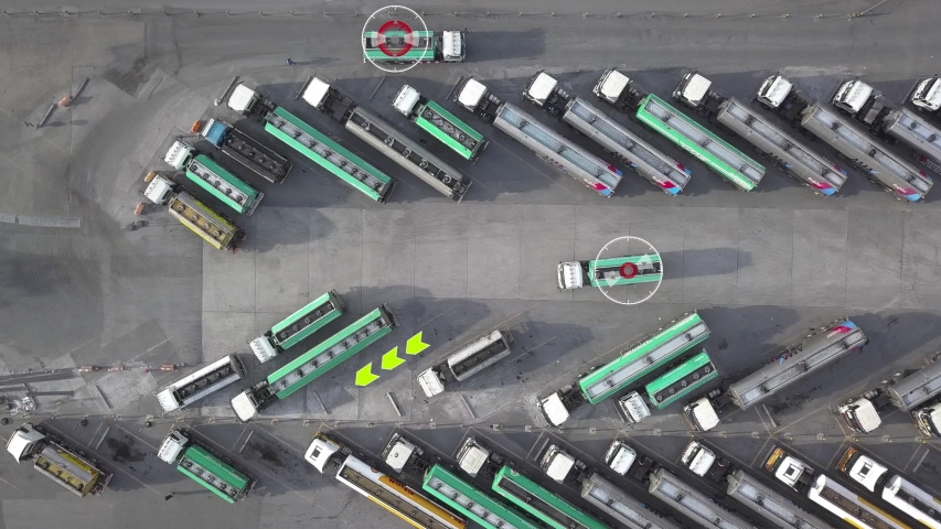 Aerial Top View of Fuel gasoline truck Parking with other Trucks on Special Parking Lot. Smart Artificial Intelligence Futuristic concept Royalty-Free Stock Footage #1054486898