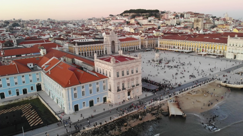 Aerial view of Lisbon, Portugal. View of sea, Commercial square and famous Augusta Arch Royalty-Free Stock Footage #1054490774