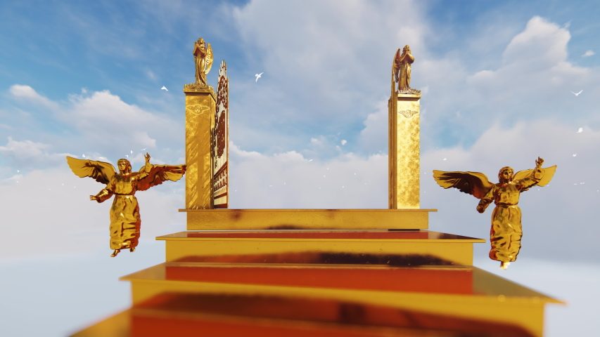Golden stairway to gates of heaven with flying angels against cloudy sky and white doves, 4K