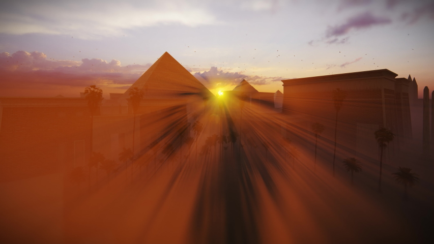 Great Giza pyramids of Khufu, Menkaure and Khafre against magical sunset, Cairo, Egypt 4K