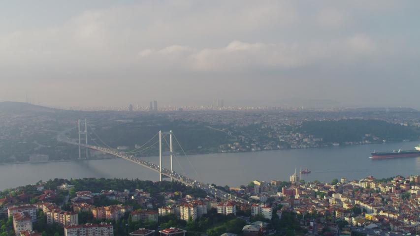 Aerial view of Istanbul Bosphorus Bridge. Istanbul City Landscape. 4K Drone Footage in Turkey.
