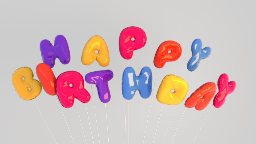 Colorful inflated floating Happy Birthday letter balloons. Fun greeting for kids or adults.