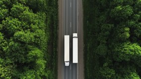 One Semi Truck with white trailer and cab driving / traveling alone on dense flat forest asphalt straight road, highway top down view follow vehicle aerial footage / Freeway trucks traffic