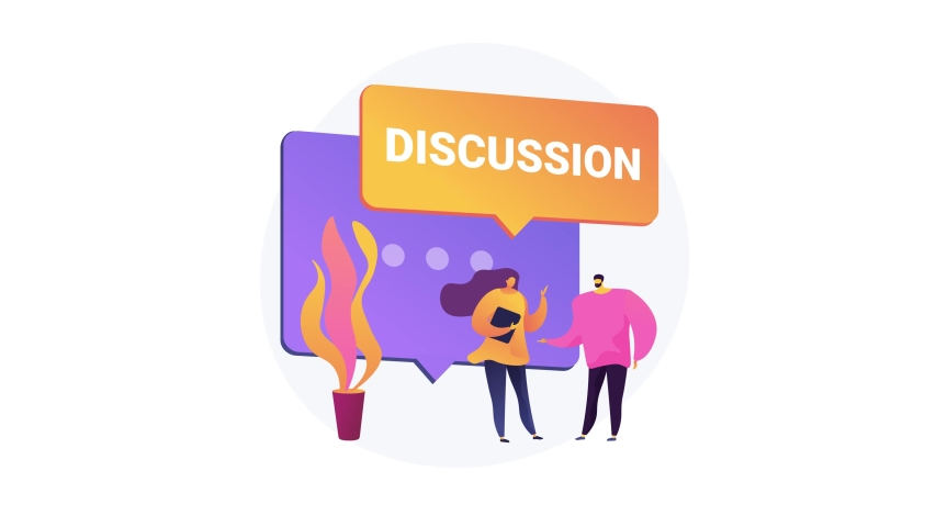 Customer discussion, share opinion, brainstorming, ask a question, start conversation, business website, menu bar element, UI abstract concept motion graphics. 4K seamless loop video animation footage   Shutterstock HD Video #1054511141