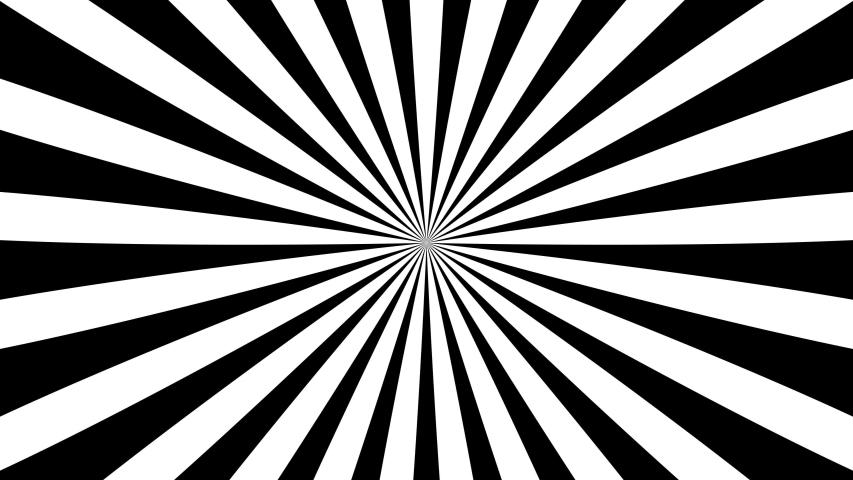 Sunburst, radial, sun light, circus, stripe background rotation. Royalty high-quality best stock footage cartoon sunburst pattern black, white background animation. Stripes sunburst rotating motion