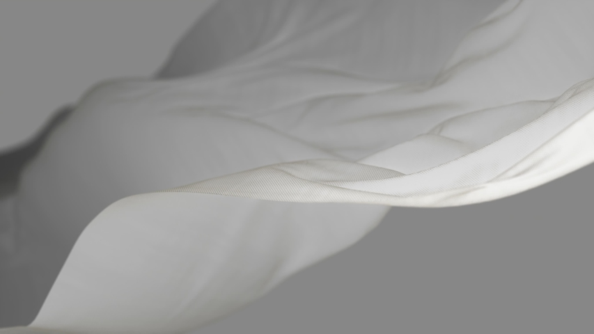 4k White wave satin fabric loop background.Wavy silk cloth fluttering in the wind.tenderness and airiness.3D digital animation of seamless flag waving ribbon streamer riband.