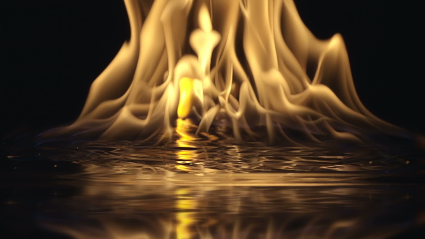 Gasoline ignites with a bright flame on a reflective surface and a huge fire soars up with spurts of flame. Closeup. Slow mo, slo mo, slow motion, high speed camera. V-log - High Dynamic Range | Shutterstock HD Video #1054527593