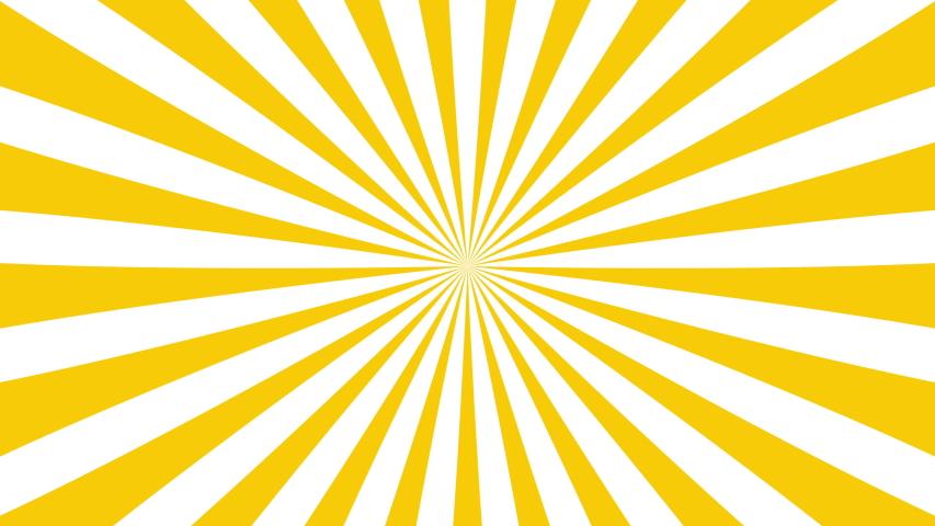 Sunburst, radial, sun light, circus, stripe background rotation. Royalty high-quality best stock footage cartoon sunburst pattern yellow, white background animation. Stripes sunburst rotating motion