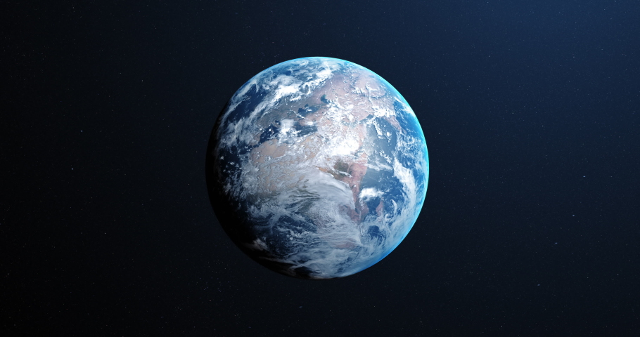 Animation of Earth seen from space, the globe spinning on satellite view on dark background. Global space exploration space travel concept digitally generated image. 4k