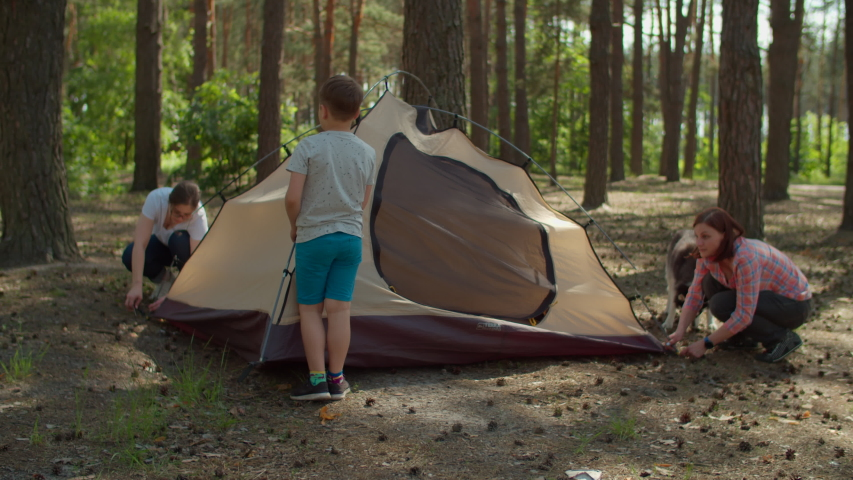 Two women and two boys having summer camping vacation in forest. Happy family of two mothers and two sons put up tent for camping. Slow motion, steadicam shot. Royalty-Free Stock Footage #1054541267