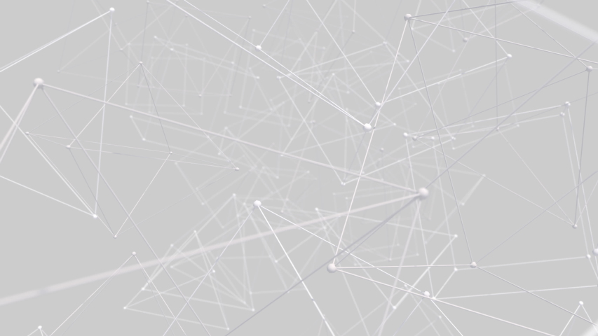3D render of abstract Plexus black and white geometrical shapes animation. Connection web concept. Digital, Communication Technology Network Background With Moving Triangles, Lines And Dots. Royalty-Free Stock Footage #1054544096