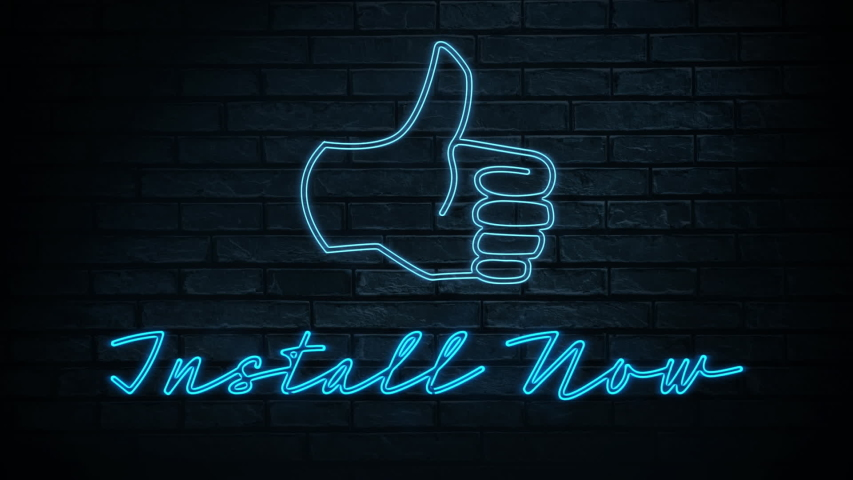 Animation of blue neon style words Install Now and a thumb icon, flickering on black background. Communication and connection concept digitally generated image.