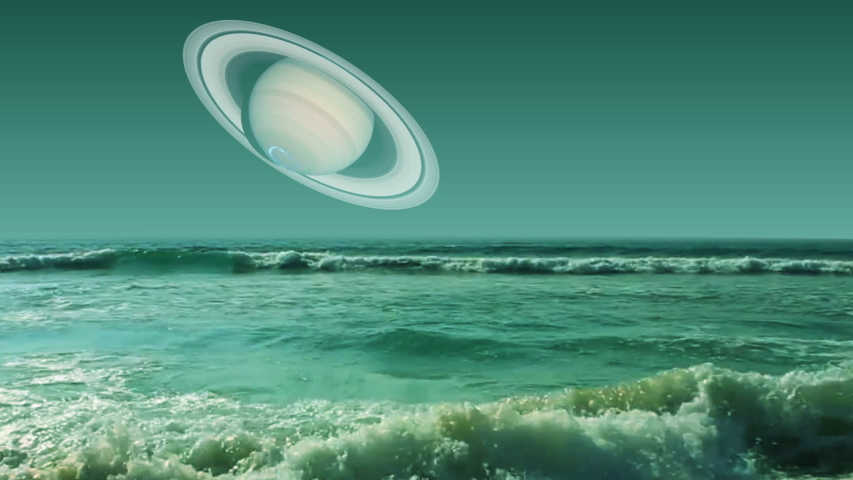 Titan Ocean and Saturn planet. 3d animation