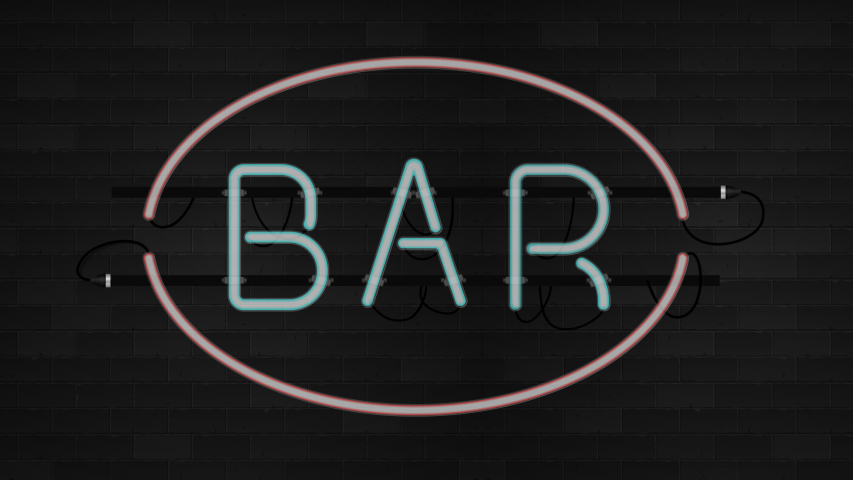 Neon sign. Bar concept. Realistic animation | Shutterstock HD Video #1054546907
