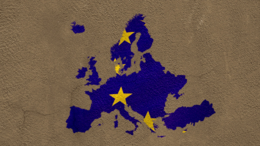 Animation of European Union flag with yellow stars moving on blue map of Europe on brown concrete background. European community concept digitally generated image. | Shutterstock HD Video #1054548377