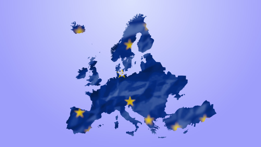 Animation of European Union flag with yellow stars turning in circle on blue map of Europe on blue background. European community concept digitally generated image. | Shutterstock HD Video #1054548410