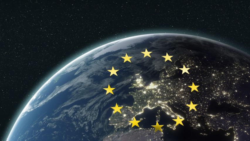 Animation of European Union flag with yellow stars turning over Europe on planet Earth seen from space on blue background. European community concept digitally generated image. | Shutterstock HD Video #1054548422