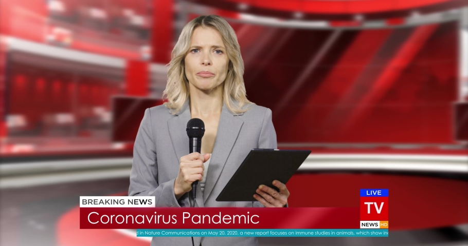 Caucasian woman presenter of breaking news in red studio reading info in mic. TV hot news program. Female correspondent talking about covid-19 pandemic. Coronavirus in television night news episode. | Shutterstock HD Video #1054549013