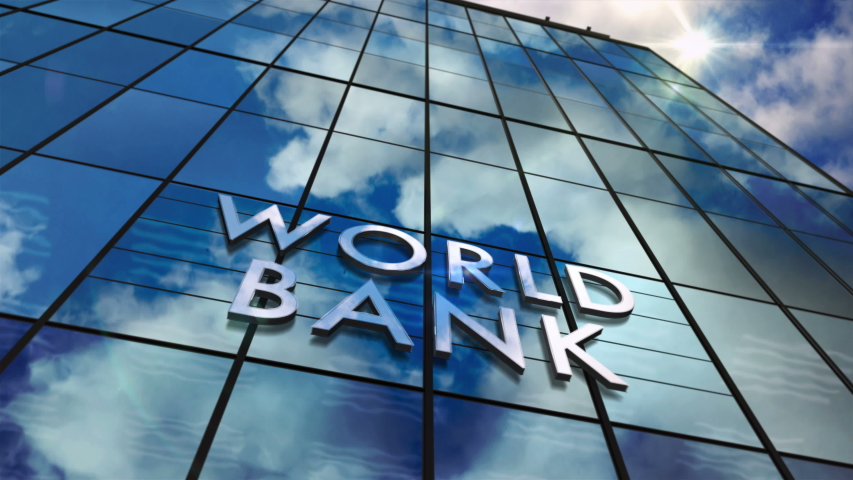 World Bank on glass building. Mirrored sky and city modern facade. Global capital, business, finance, economy, banking and money concept seamless and loopable 3D rendering animation. | Shutterstock HD Video #1054551980
