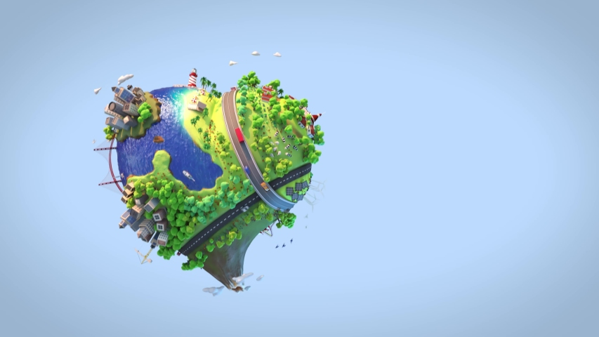 Loop animation of heart shaped world showing a peaceful and sustainable lifestyle, green planet with clean energy and happy mood in sunny day as concept for love and peace. 3d render animation Royalty-Free Stock Footage #1054552463