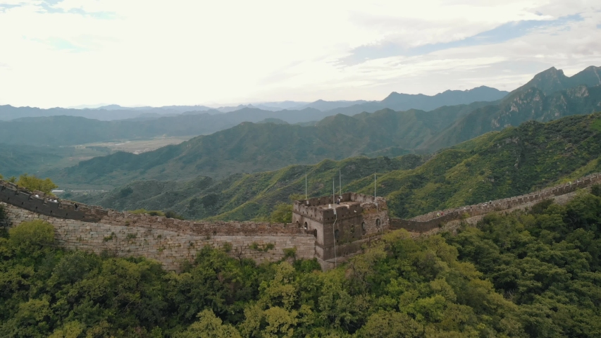 Drone Shot of the Great Wall of china