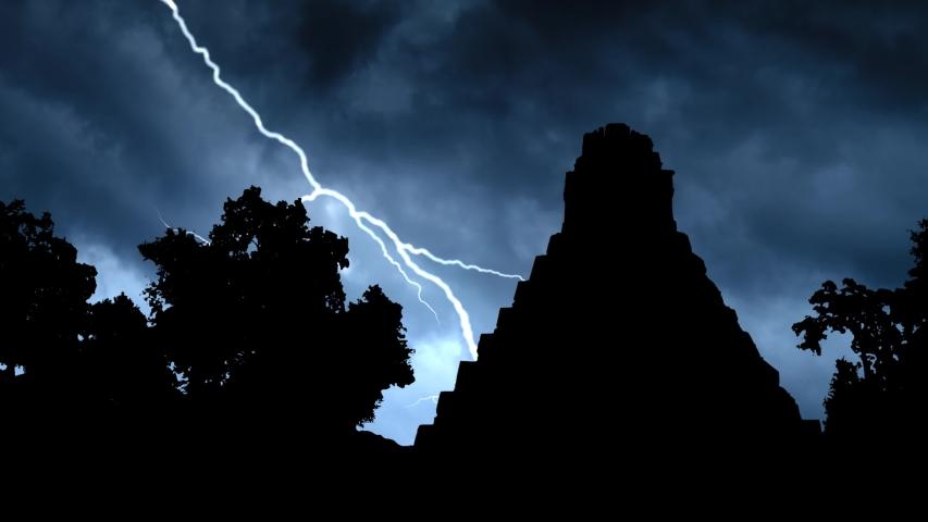 Guatemala: Thunderstorm and Lightning Over Maya Pyramid, Tikal National Park
