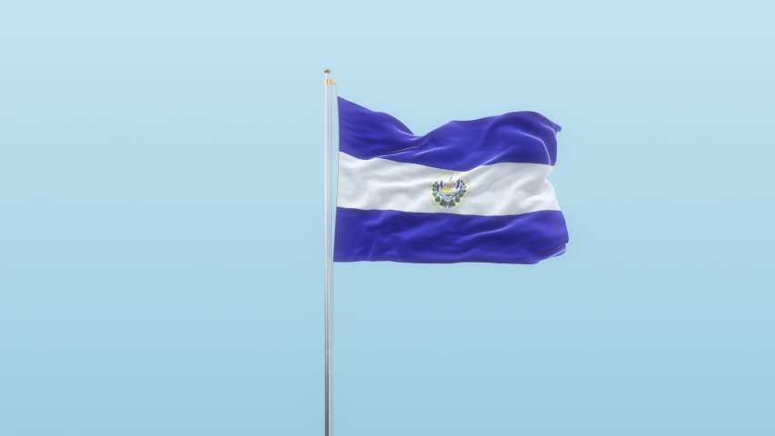El Salvador Flag With Luma And Background With Different Angle Of Movement  -3D rendering