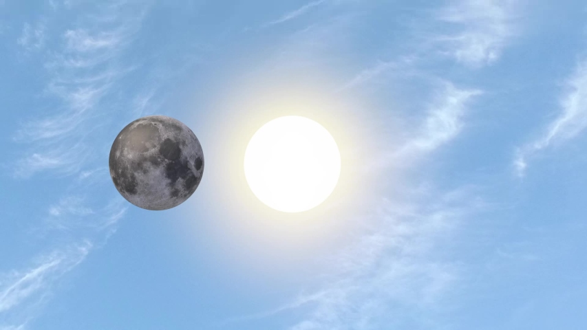 Solar Eclipse and Moon. 3d animation    Shutterstock HD Video #1054564268