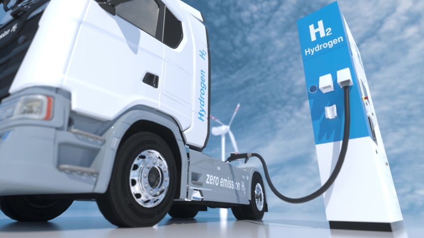 hydrogen logo on gas stations fuel dispenser. h2 combustion Truck engine for emission free ecofriendly transport. 3d rendering Royalty-Free Stock Footage #1054564772