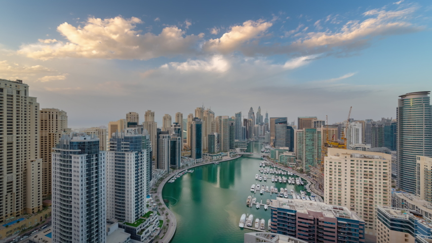 Sunset sunrise dubai city famous marina bay canal rooftop timelapse panorama 4k united arab emirates | Shutterstock HD Video #1054567946