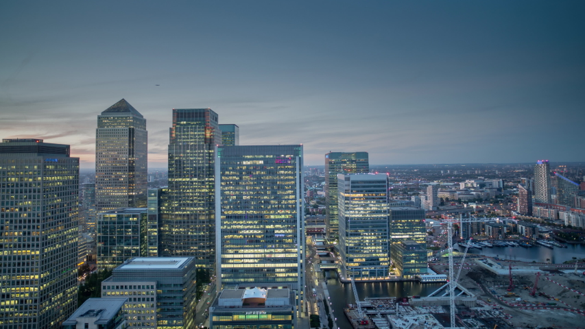 Back and forth timelapse video of skyscrapers in Canary Wharf, London, England - September 2019 | Shutterstock HD Video #1054570625