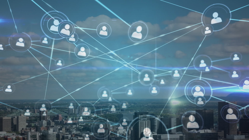 Animation of network of connections and white people icons interacting over cityscape with clouds on blue sky in the background. Global network connections and social networking concept. Royalty-Free Stock Footage #1054588778