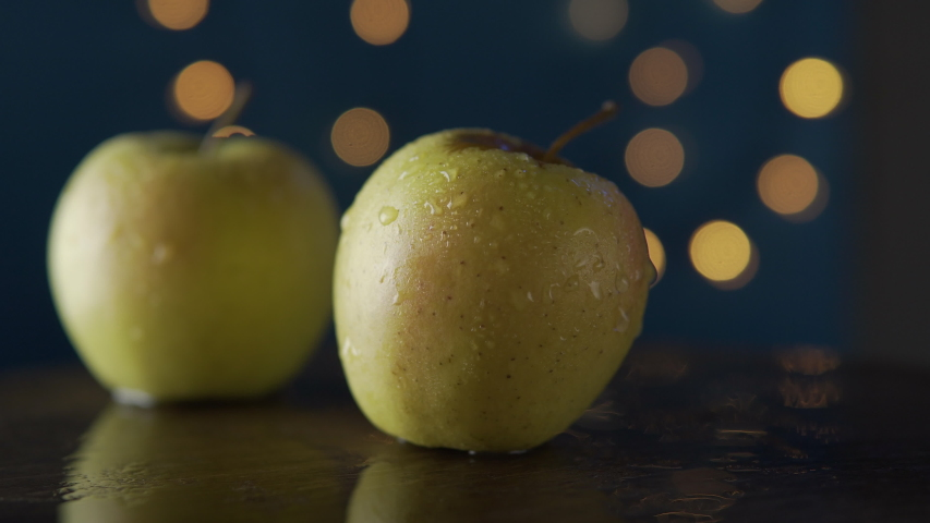 Yellow apples with water drops | Shutterstock HD Video #1054596716