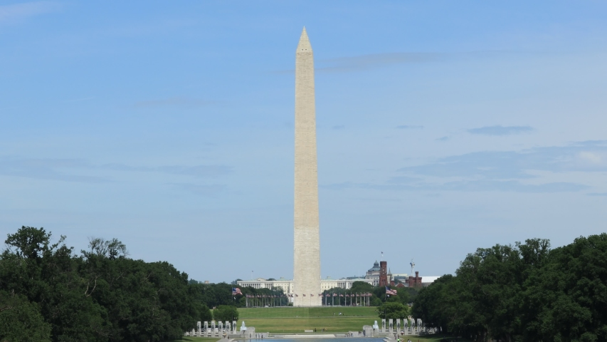 Washington, DC / United States - June 16 2020:  The Washington Monument as seen from the Lincoln Memorial. | Shutterstock HD Video #1054601867