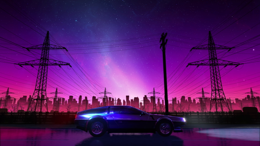 80s retro country drive seamless loop with vintage car. Stylized rural landscape in outrun VJ style, night sky and a city. Vaporwave 3D animation background for music video, DJ set, clubs, EDM music Royalty-Free Stock Footage #1054623461