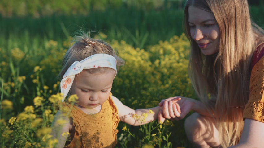Child girl with mother walking outdoor family vacations mom and daughter playing in flowers meadow happiness emotions summer season rural countryside nature                                         Shutterstock HD Video #1054645985