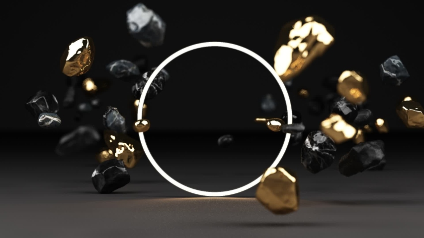 3d rendering of black marble pedestal isolated on black background, round gold freeform rock, abstract minimal concept, blank space, clean design, luxury minimalist mockup, lighting frame growing loop Royalty-Free Stock Footage #1054646327
