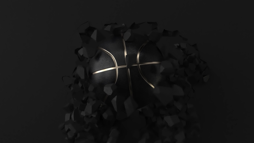4K slow motion Black Basketball ball with Gold Metallic Line on cracked dark wall. Close-up sphere ball with dots. View front destruction. Futuristic sports concept. 3d rendering