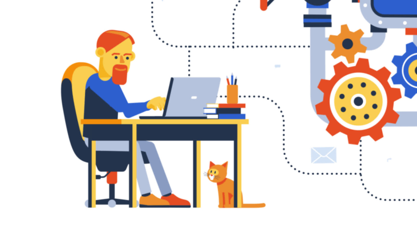 Teamwork remotely online on creative project. People with laptop working working together on a common startup. Looped animation with alpha channel | Shutterstock HD Video #1054660904